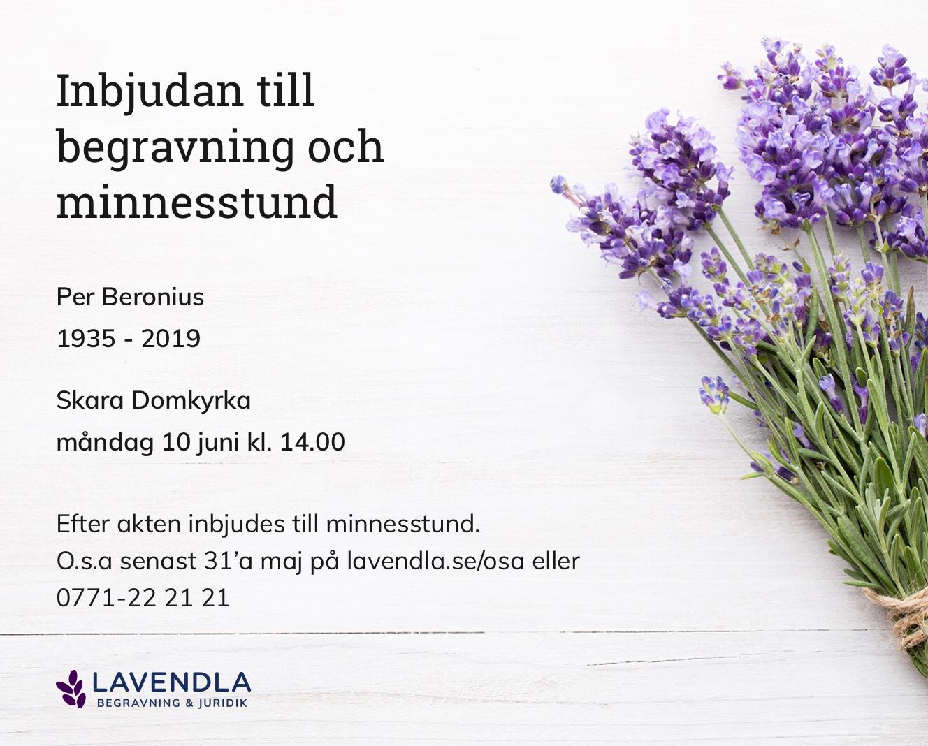 Inbjudningskort till ceremonin för Per Beronius
