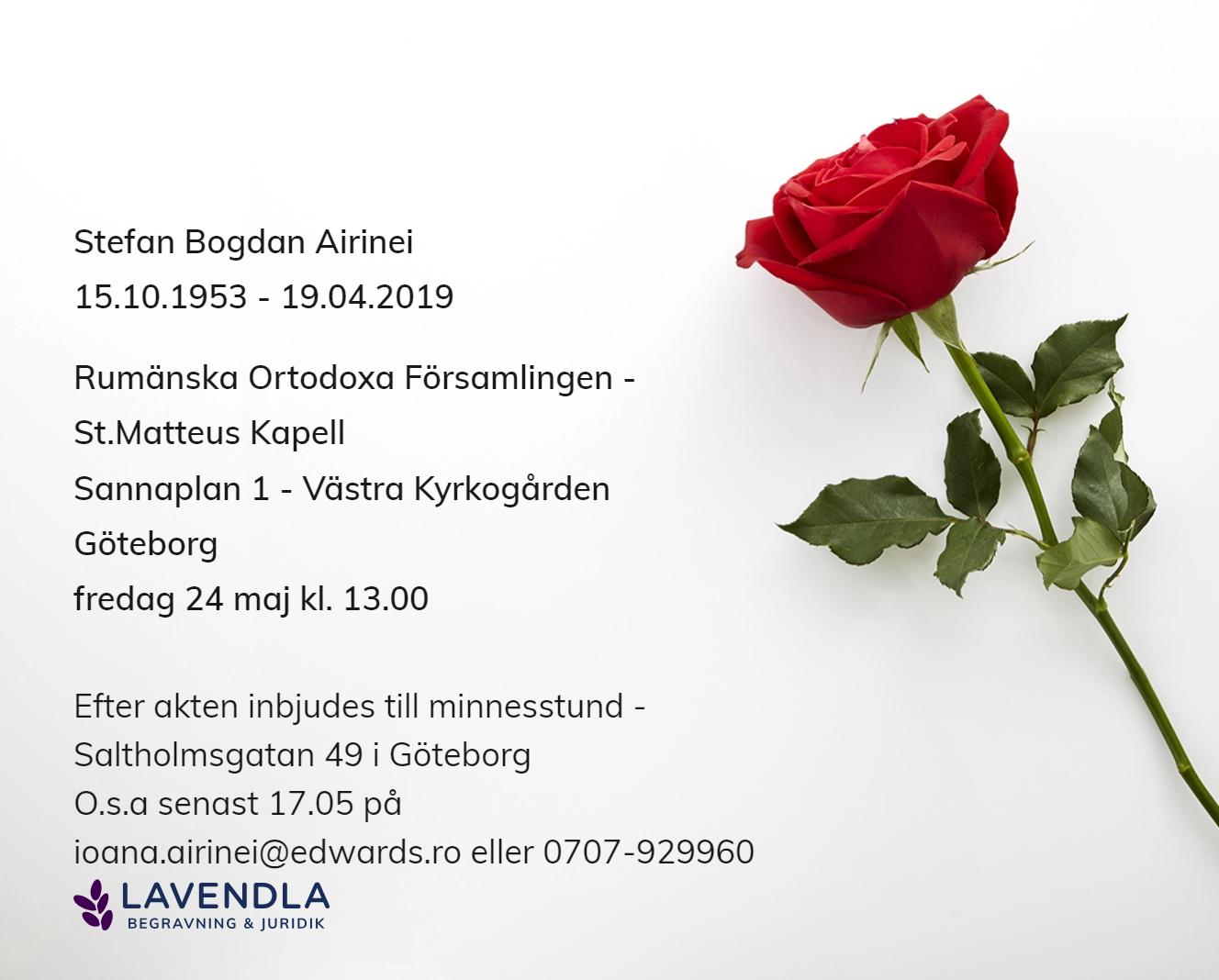 Inbjudningskort till ceremonin för Stefan Bogdan Airinei