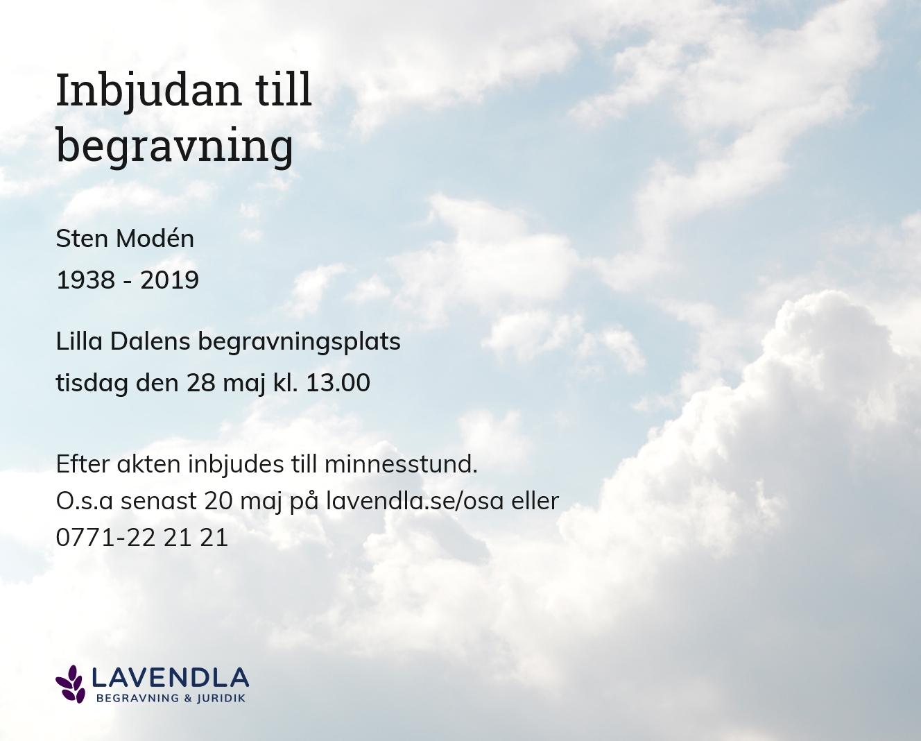 Inbjudningskort till ceremonin för Sten Modén
