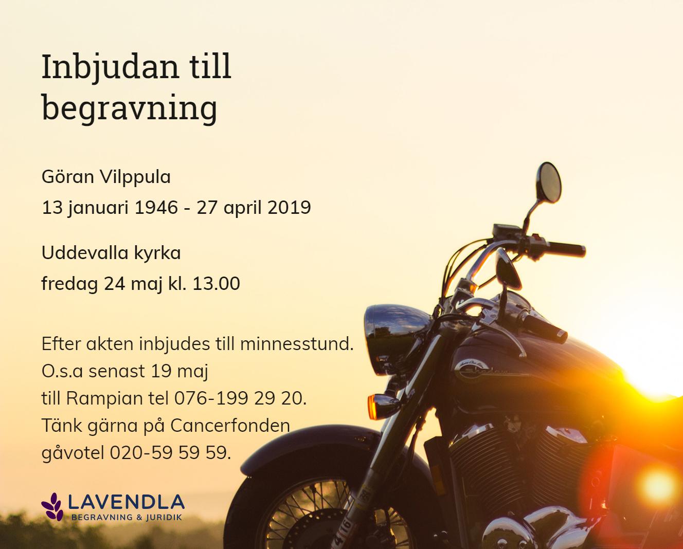 Inbjudningskort till ceremonin för Göran Vilppula