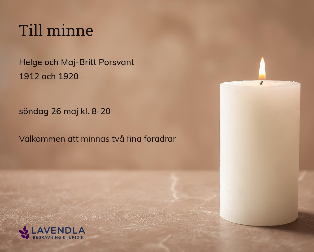 Inbjudningskort till ceremonin för Helge och Maj-Britt Porsvant