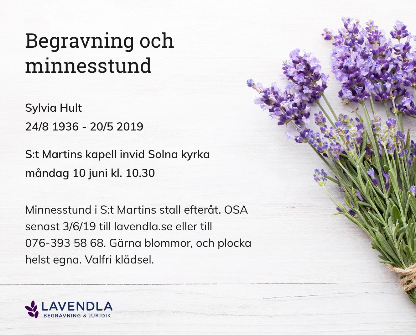 Inbjudningskort till ceremonin för Sylvia Hult