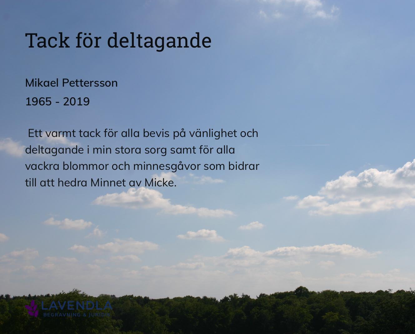 Inbjudningskort till ceremonin för Mikael Pettersson