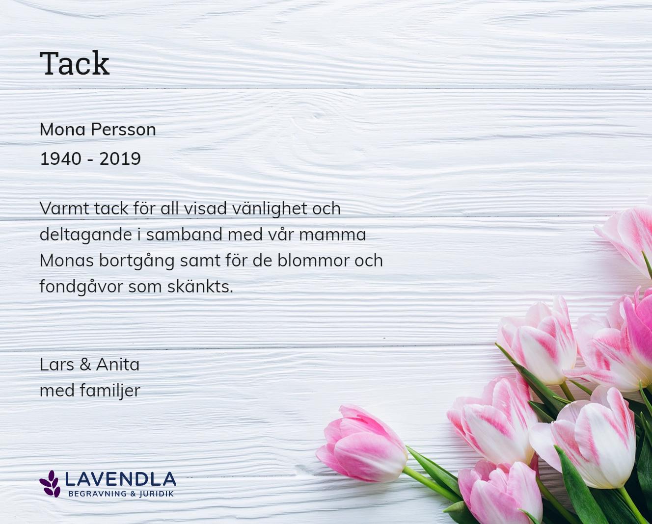 Inbjudningskort till ceremonin för Mona Persson
