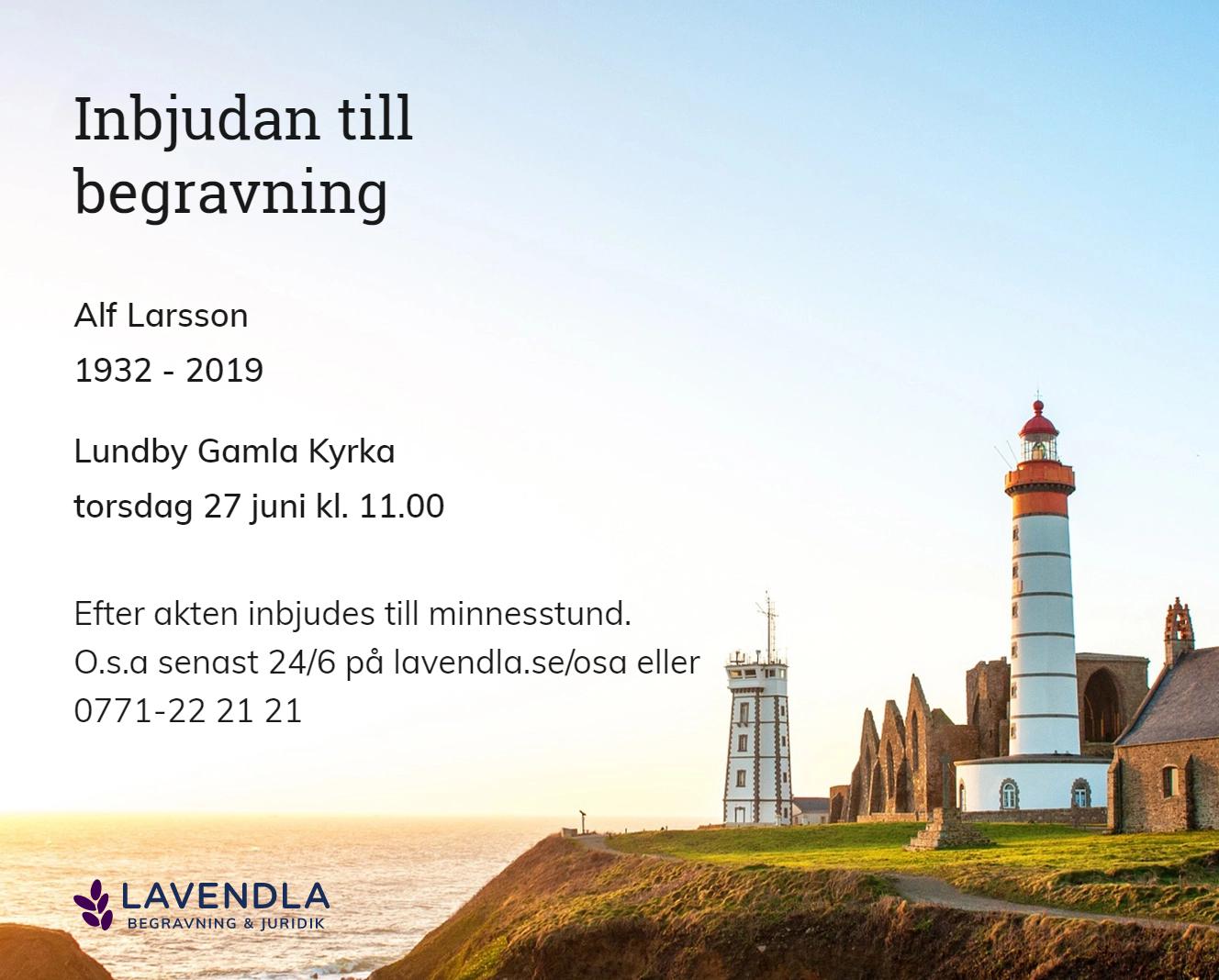 Inbjudningskort till ceremonin för Alf Larsson