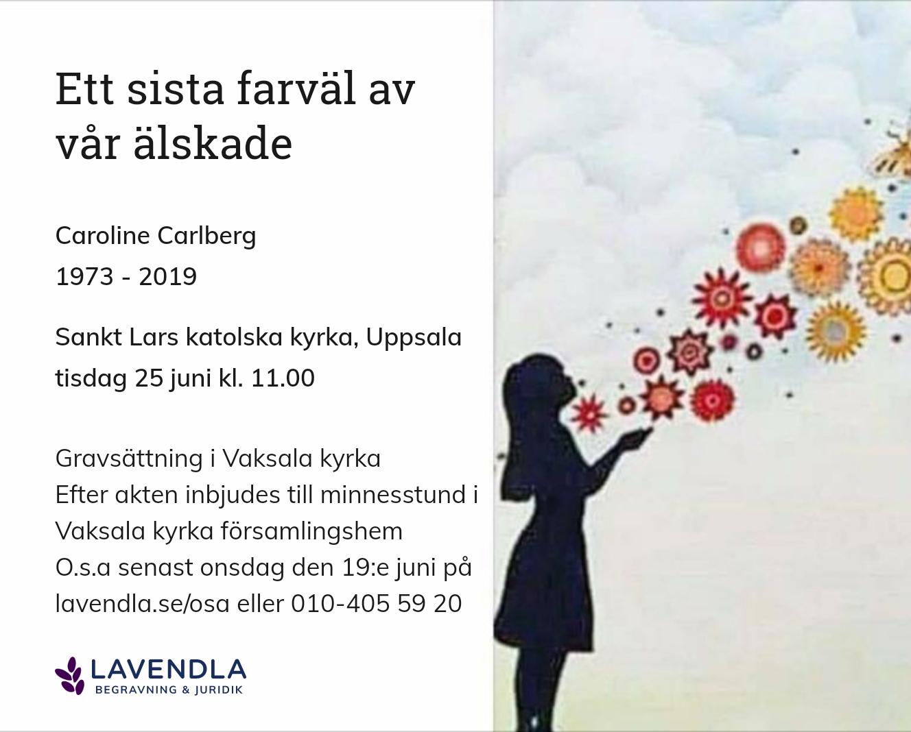 Inbjudningskort till ceremonin för Caroline Carlberg