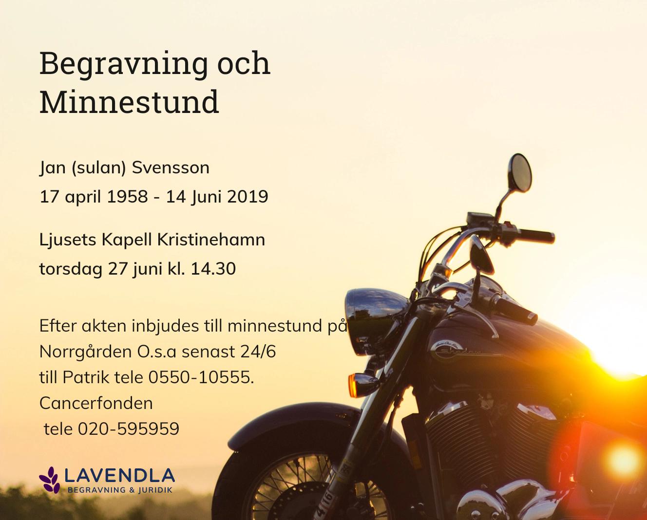 Inbjudningskort till ceremonin för Jan (sulan) Svensson
