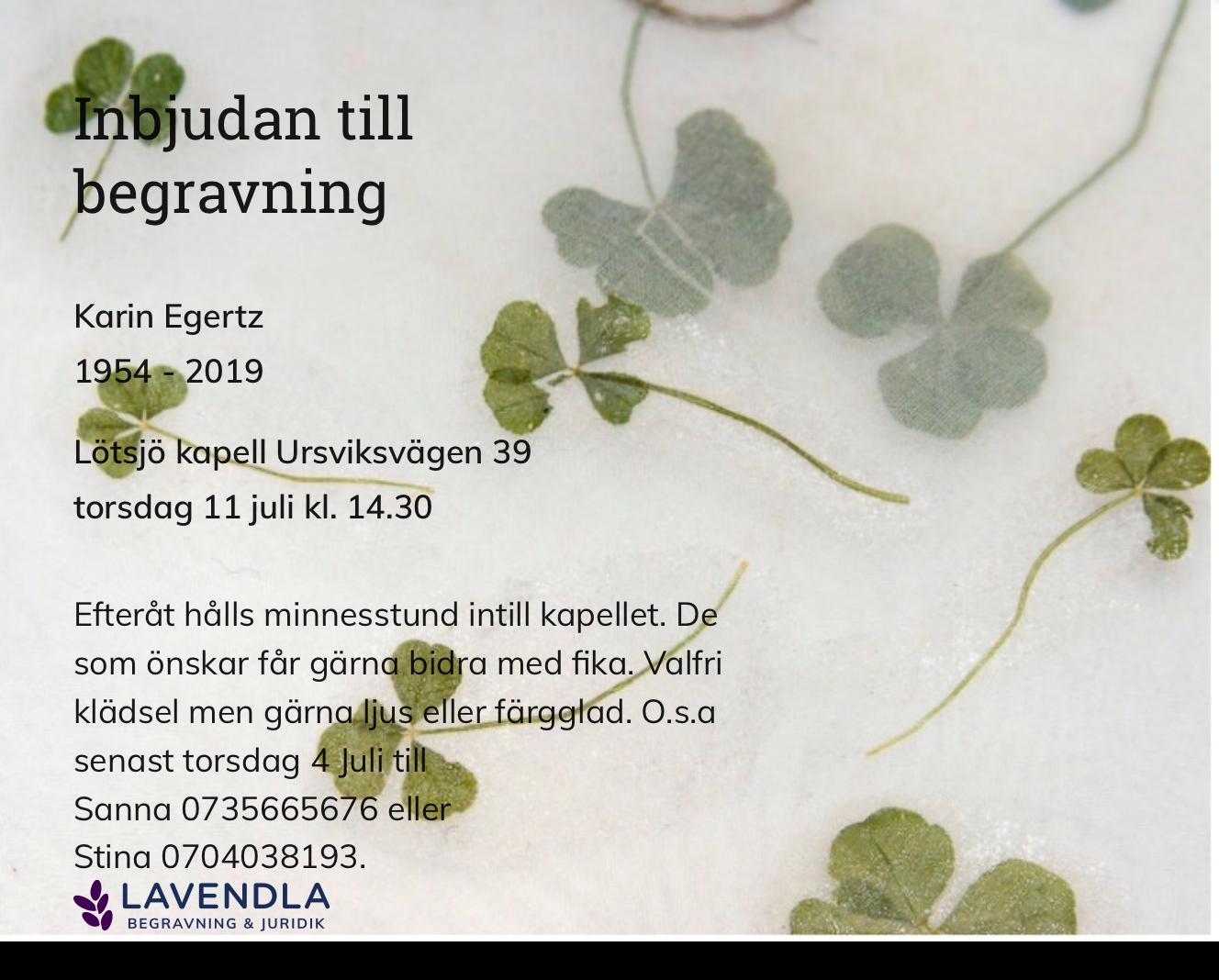 Inbjudningskort till ceremonin för Karin Egertz