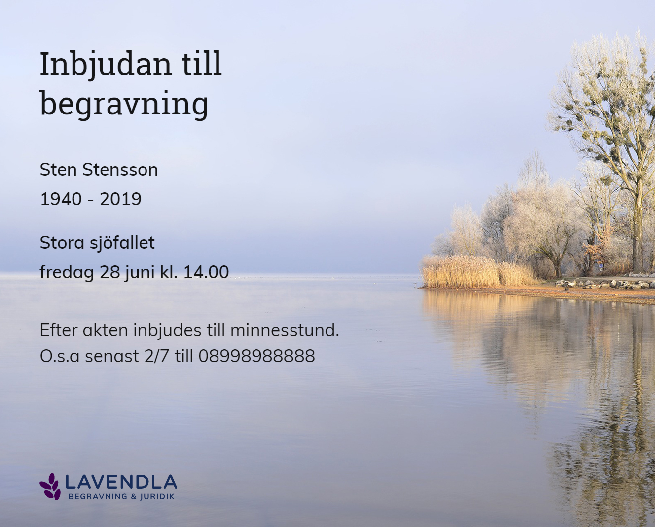 Inbjudningskort till ceremonin för Sten Stensson