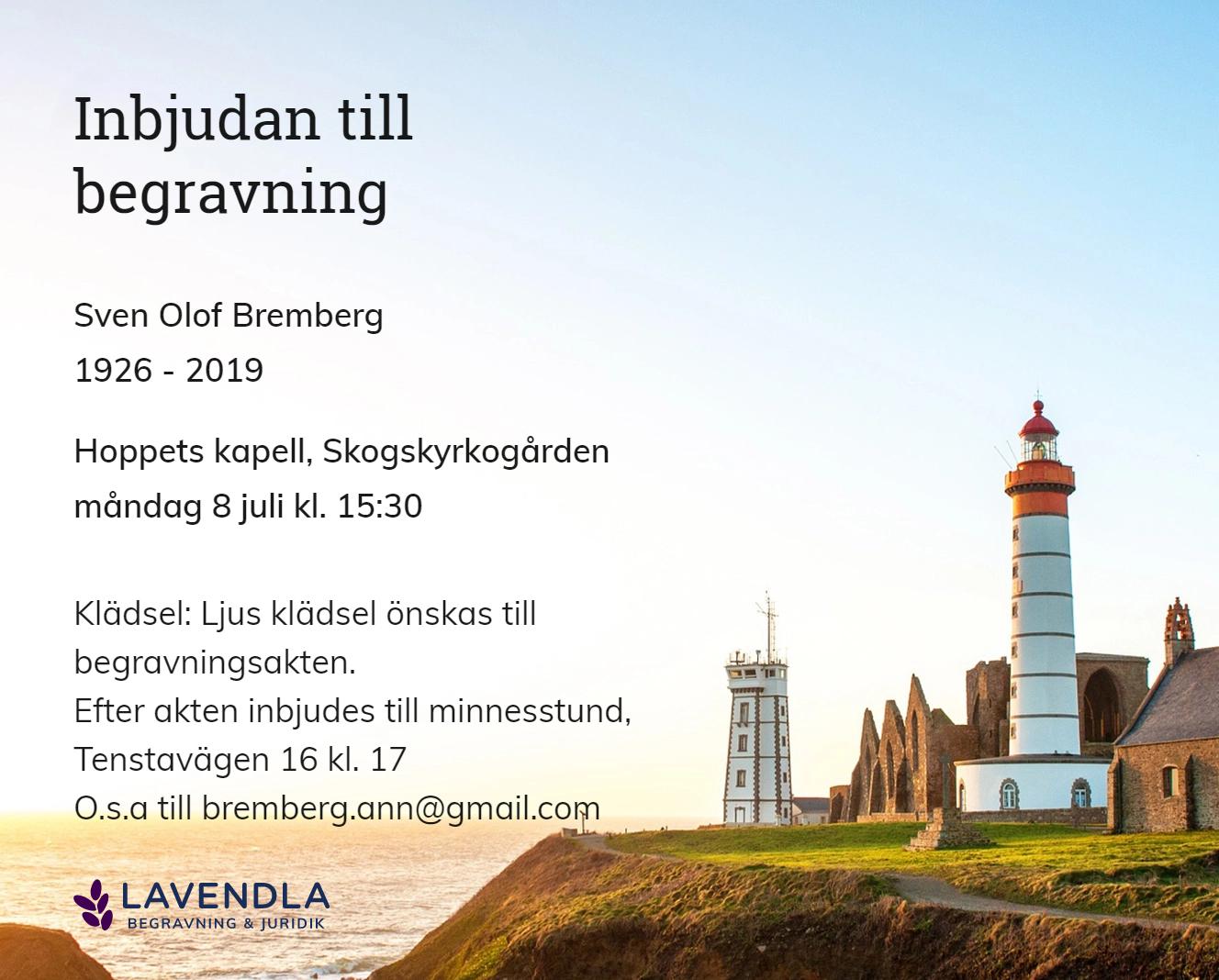 Inbjudningskort till ceremonin för Sven Olof Bremberg