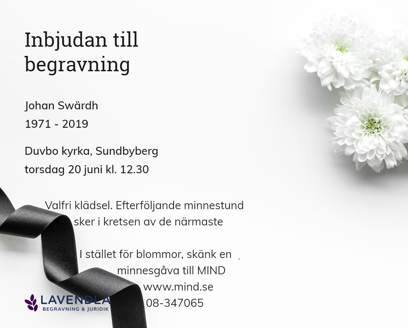 Inbjudningskort till ceremonin för Johan Swärdh