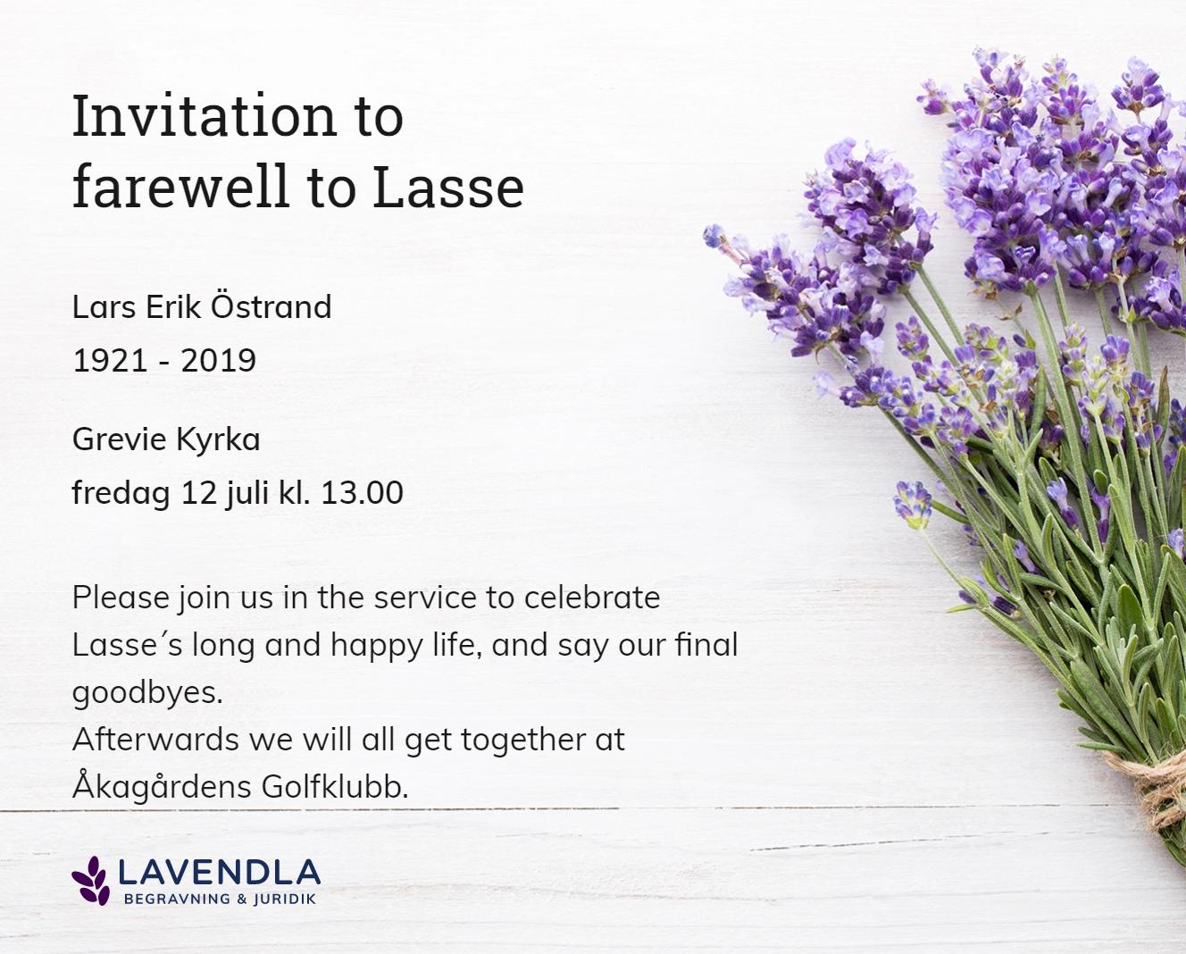 Inbjudningskort till ceremonin för Lars Erik Östrand