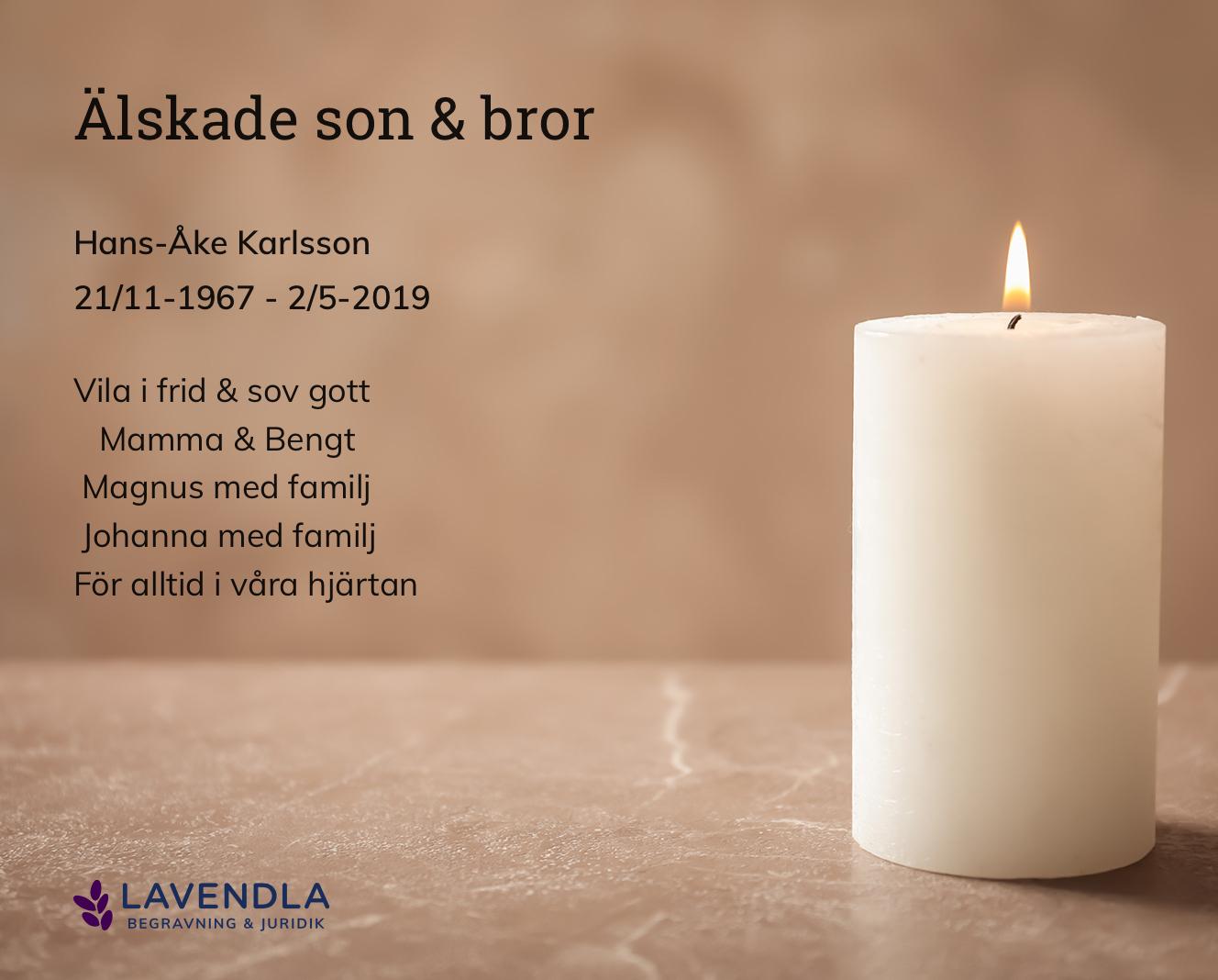 Inbjudningskort till ceremonin för Hans-Åke Karlsson