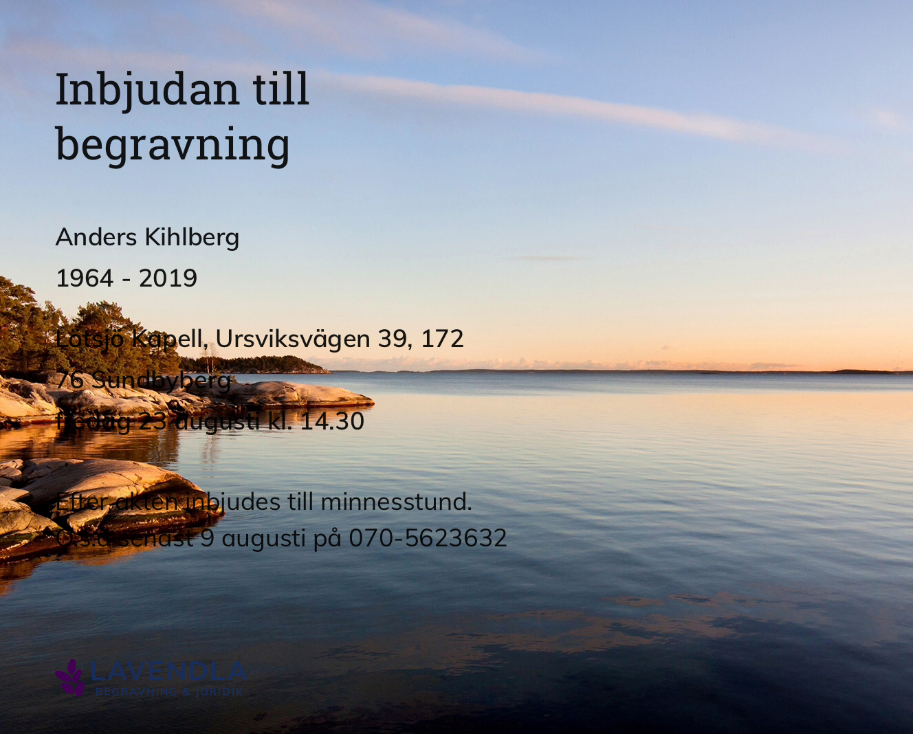 Inbjudningskort till ceremonin för Anders Kihlberg