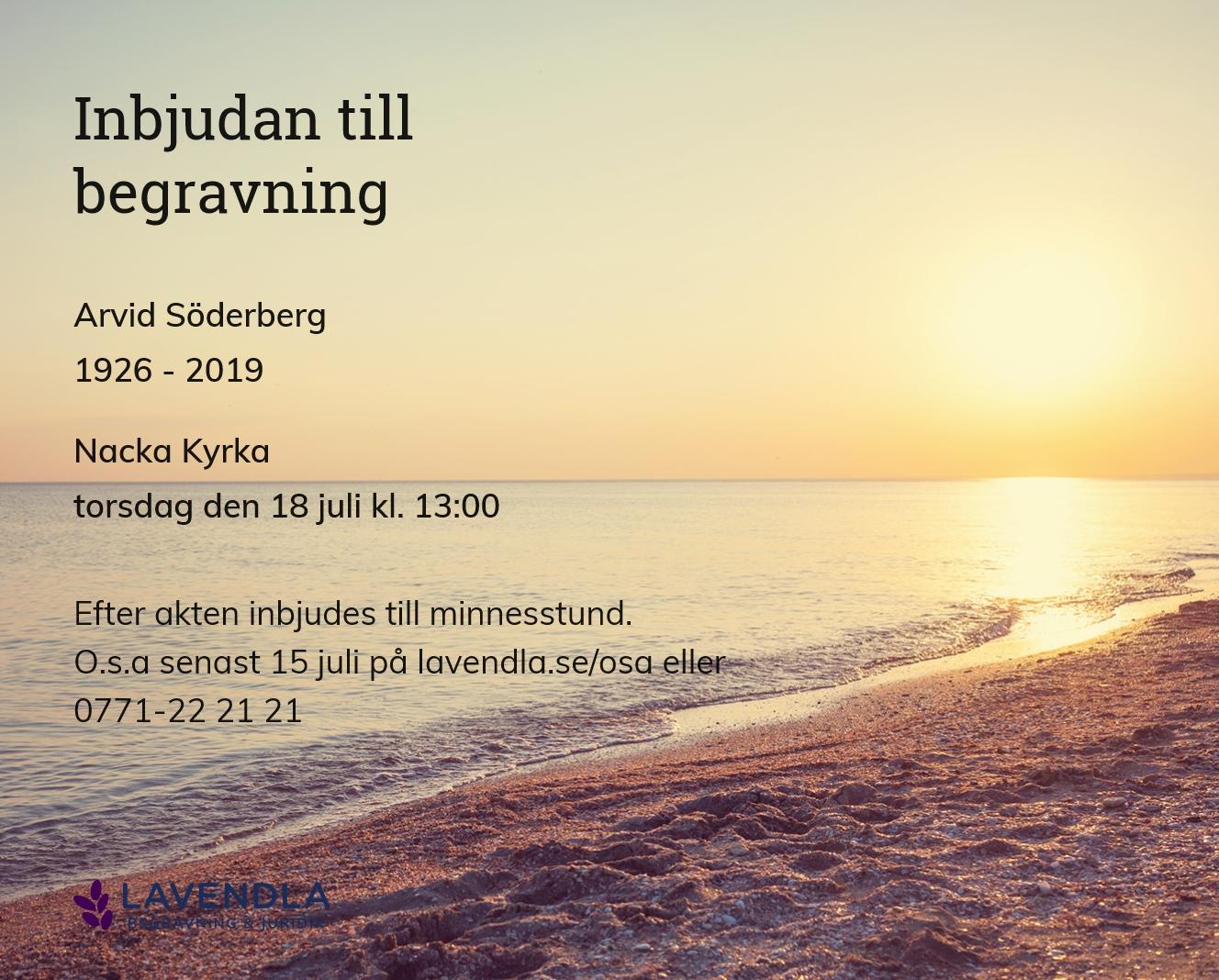 Inbjudningskort till ceremonin för Arvid Söderberg
