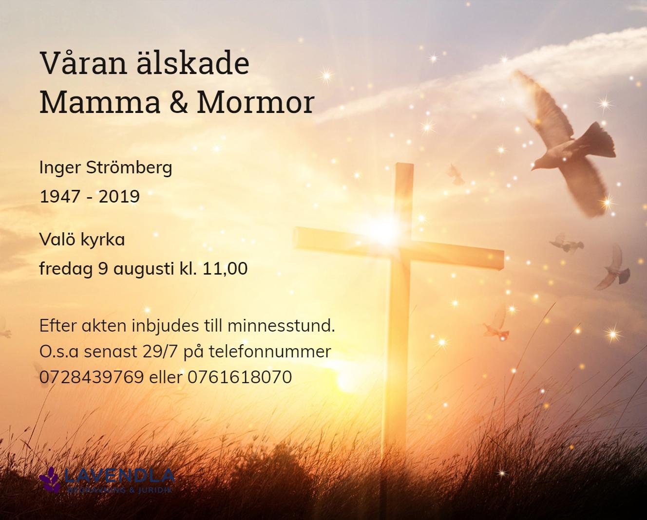 Inbjudningskort till ceremonin för Inger Strömberg