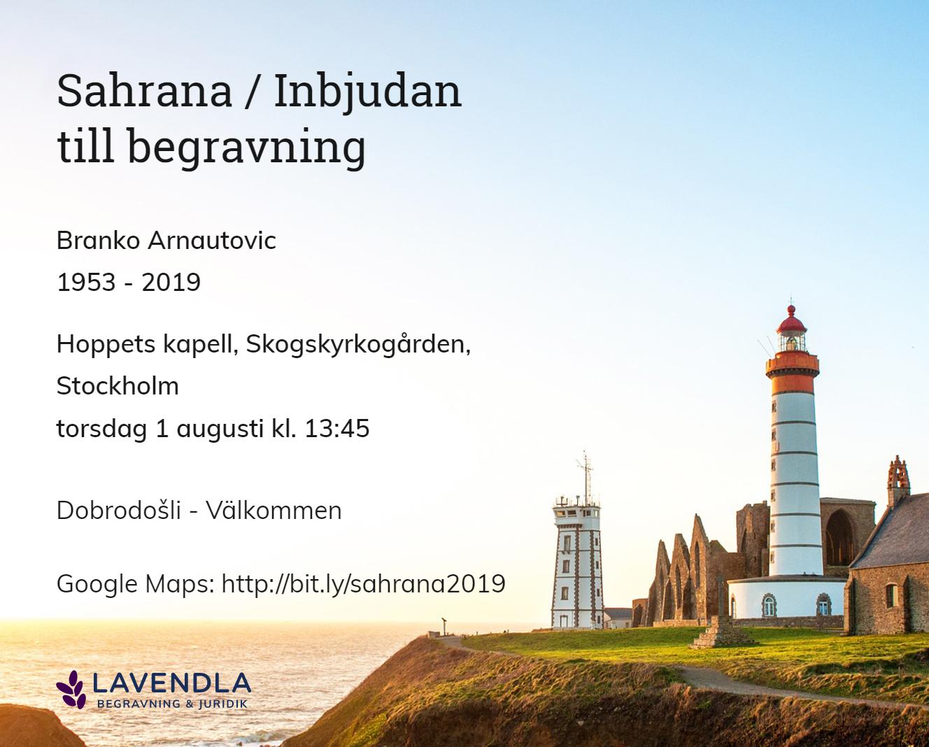 Inbjudningskort till ceremonin för Branko Arnautovic