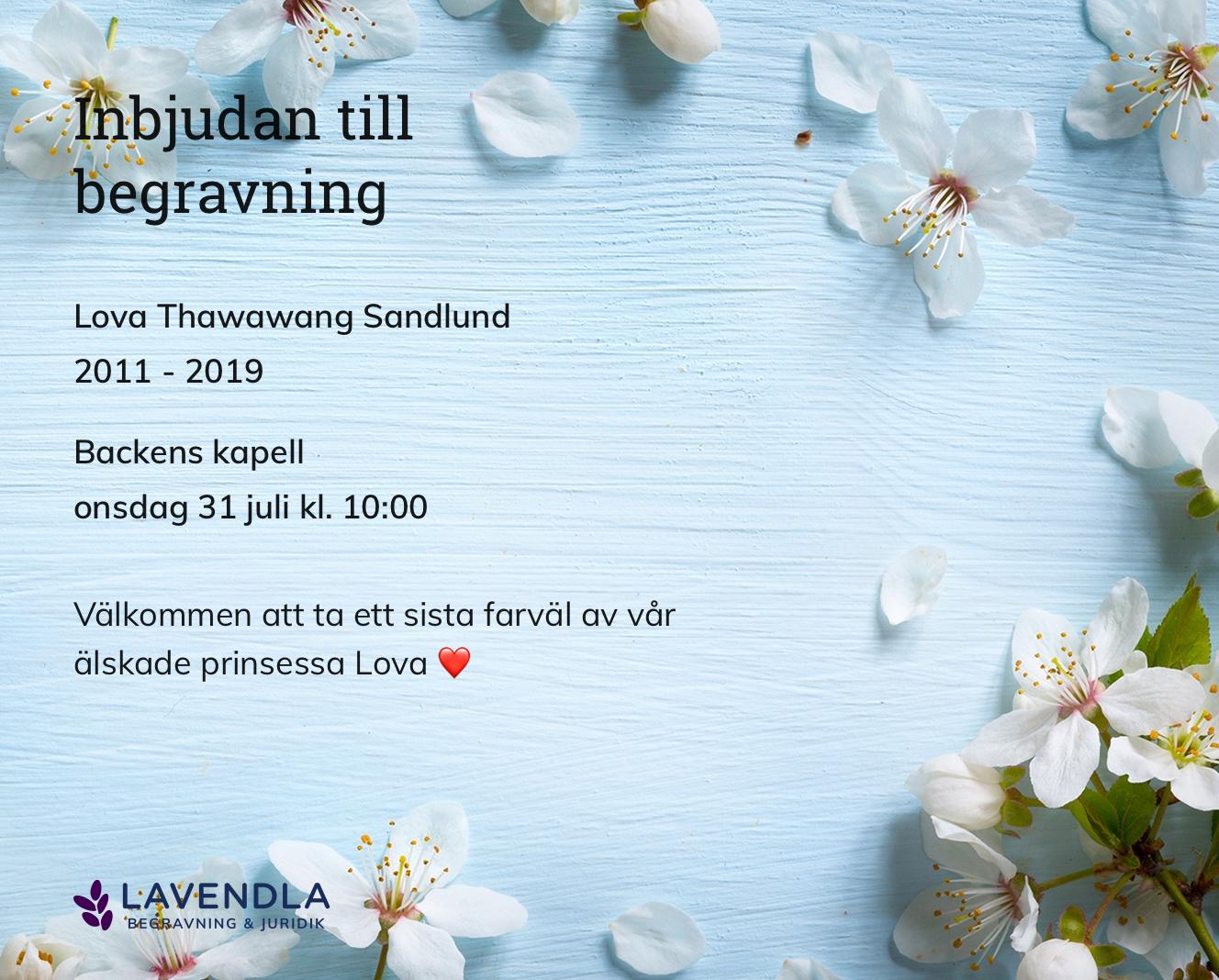 Inbjudningskort till ceremonin för Lova Thawawang Sandlund