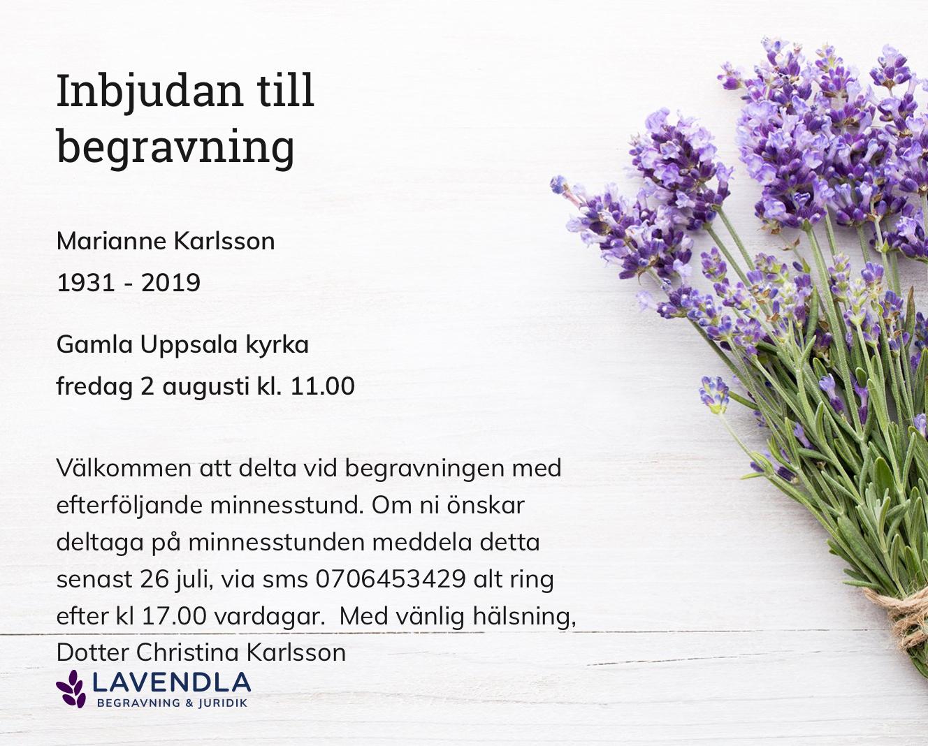 Inbjudningskort till ceremonin för Marianne Karlsson