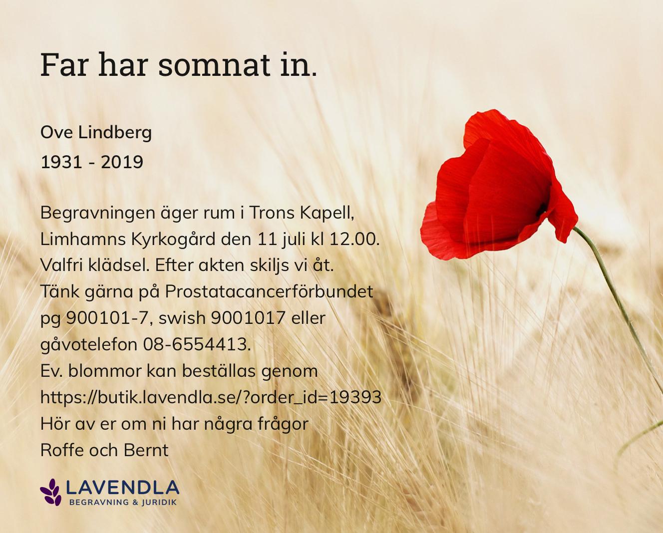 Inbjudningskort till ceremonin för Ove Lindberg