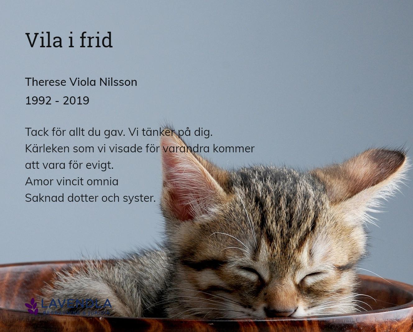 Inbjudningskort till ceremonin för Therese Viola Nilsson