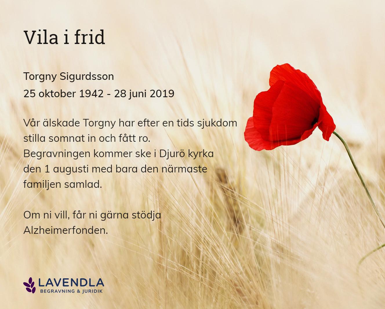 Inbjudningskort till ceremonin för Torgny Sigurdsson
