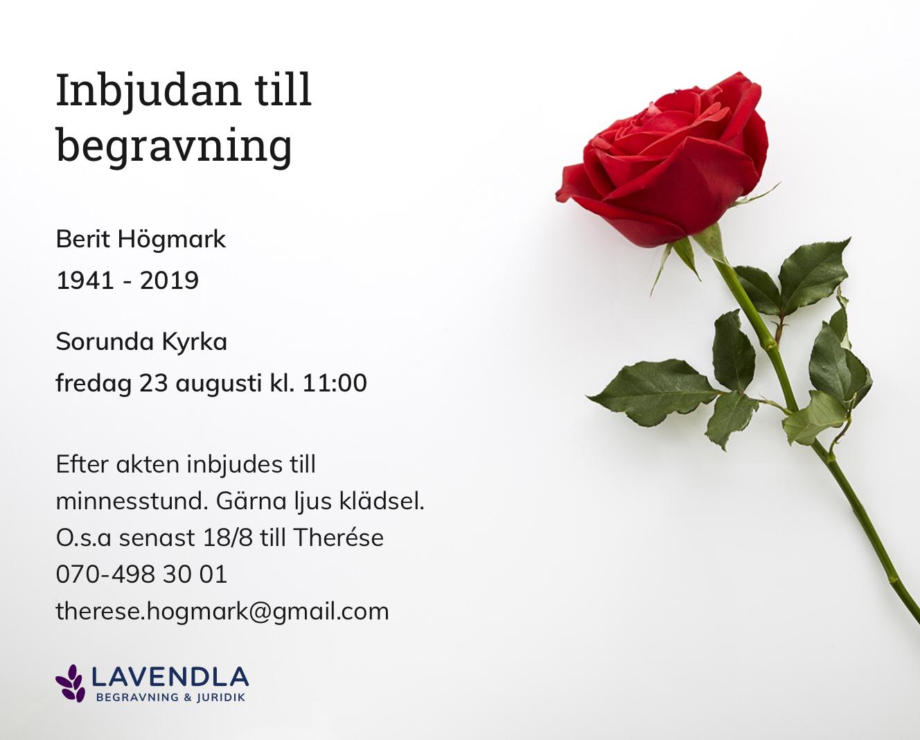 Inbjudningskort till ceremonin för Berit Högmark