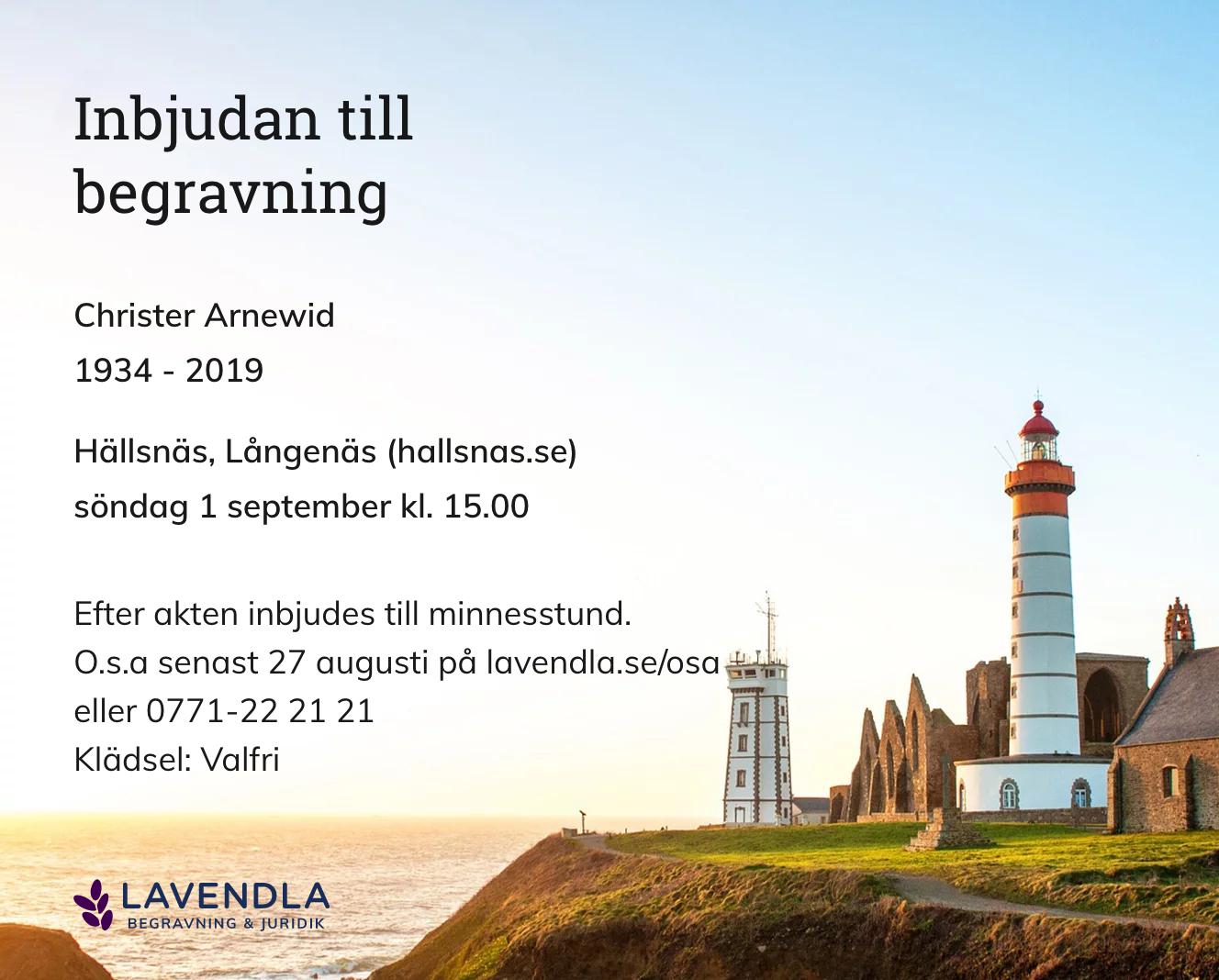 Inbjudningskort till ceremonin för Christer Arnewid