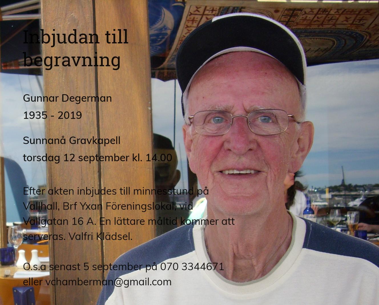 Inbjudningskort till ceremonin för Gunnar Degerman
