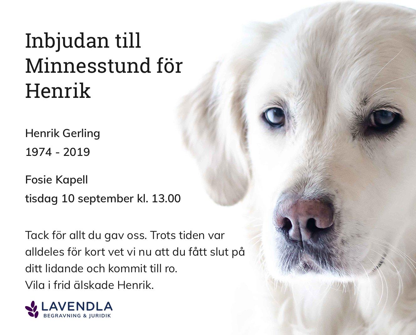 Inbjudningskort till ceremonin för Henrik Gerling
