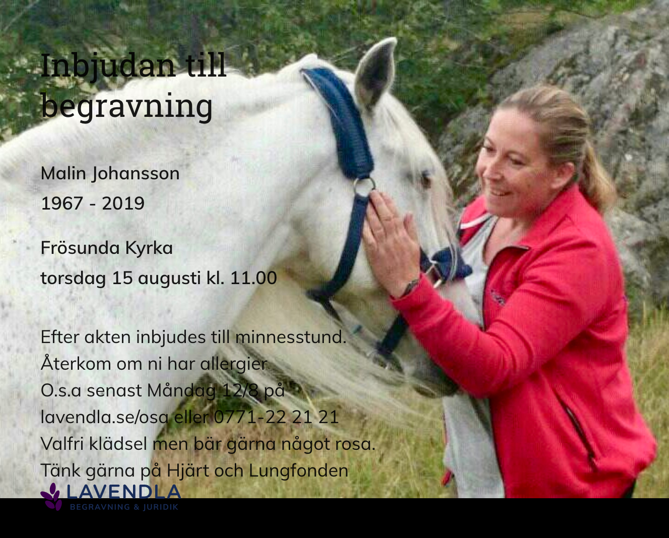 Inbjudningskort till ceremonin för Malin Johansson