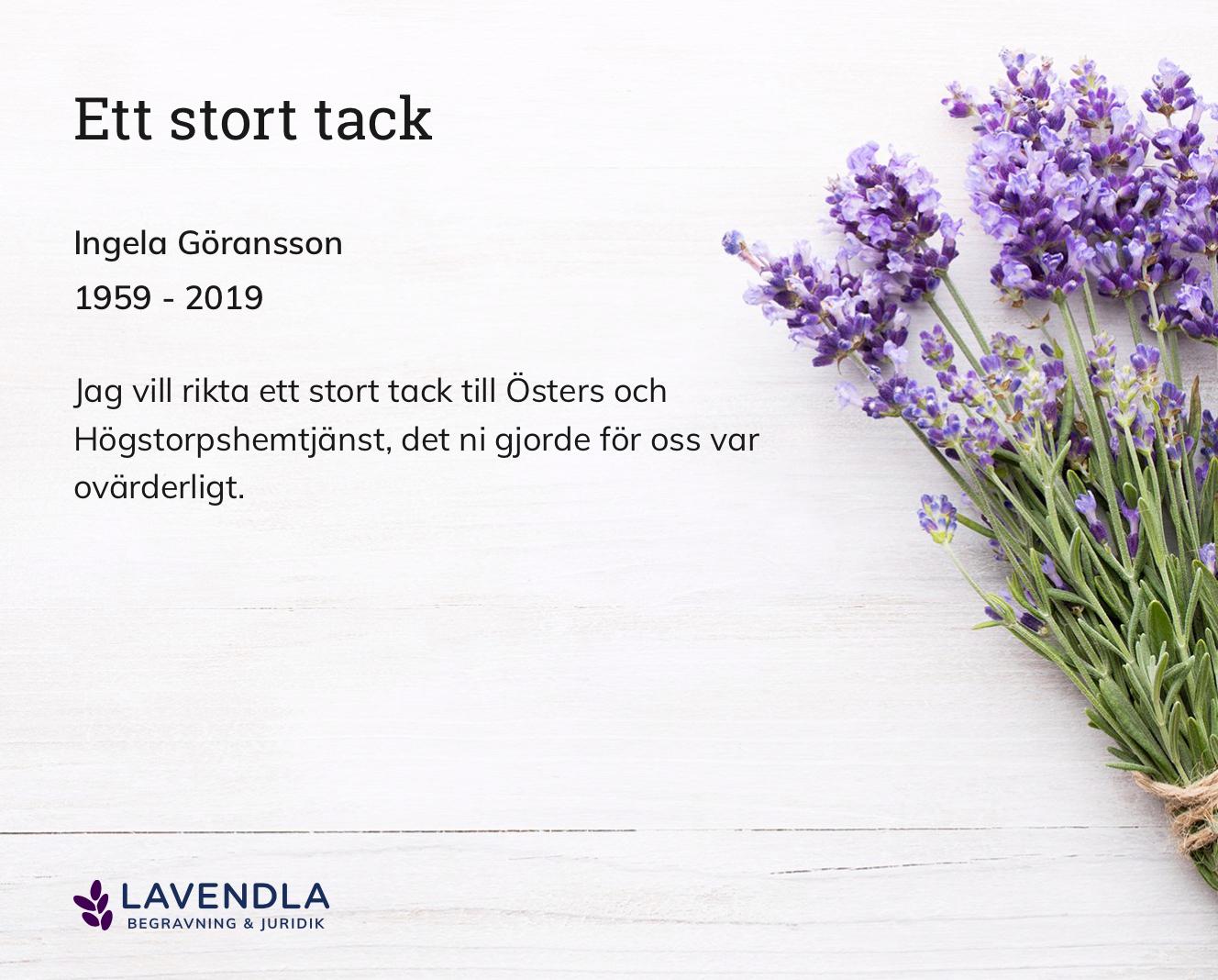 Inbjudningskort till ceremonin för Ingela Göransson