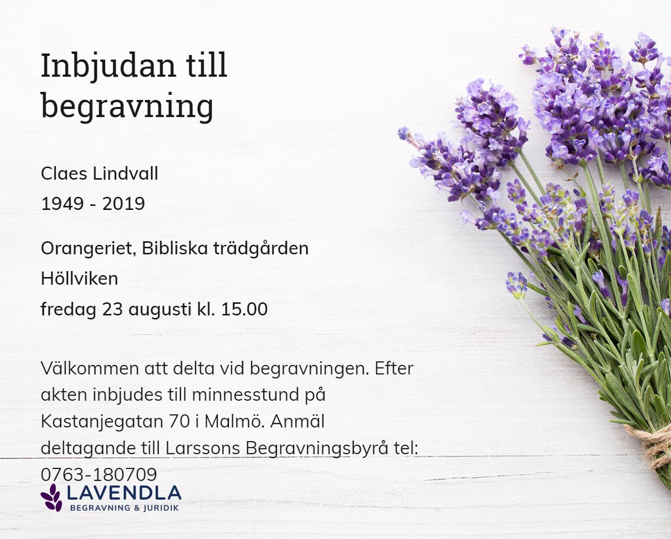 Inbjudningskort till ceremonin för Claes Lindvall