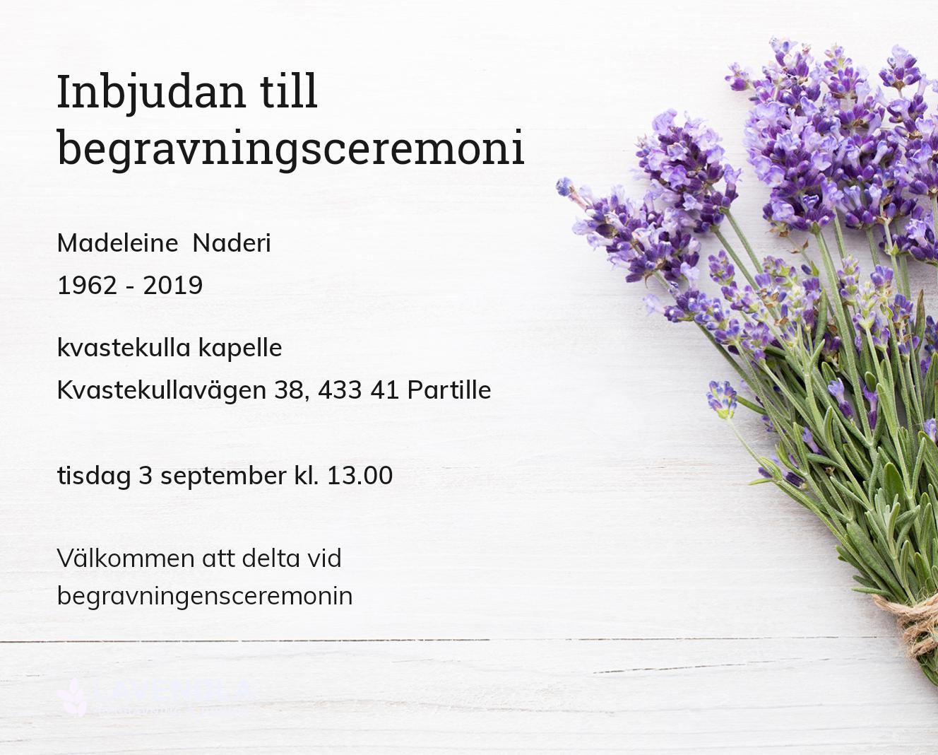 Inbjudningskort till ceremonin för Madeleine Naderi