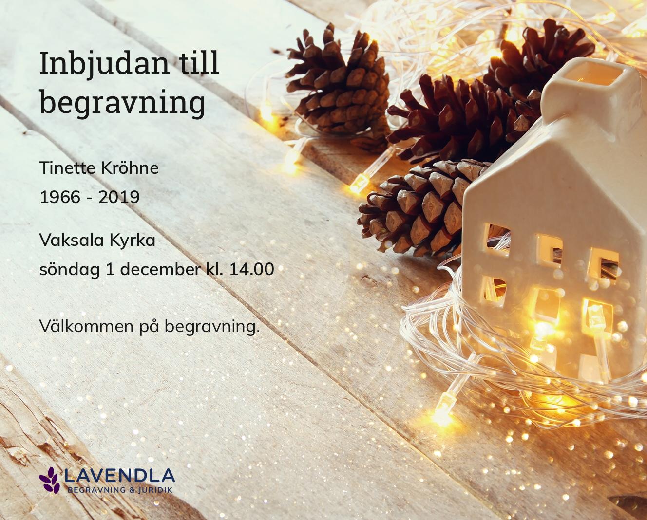 Inbjudningskort till ceremonin för Tinette Kröhne
