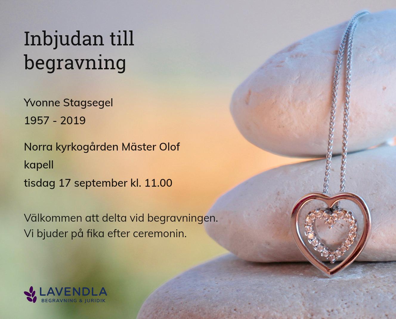 Inbjudningskort till ceremonin för Yvonne Stagsegel