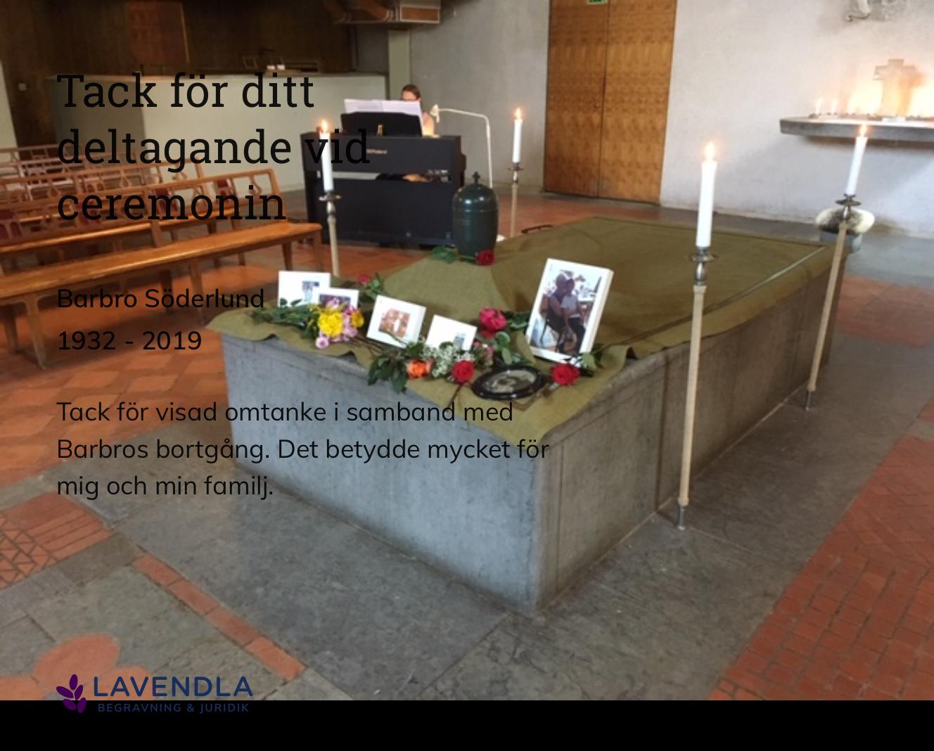 Inbjudningskort till ceremonin för Barbro Söderlund