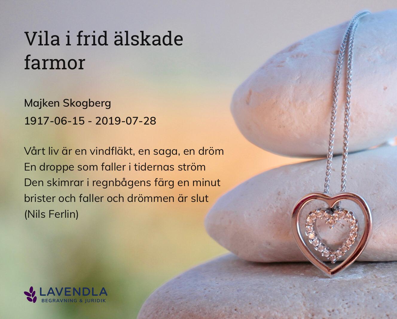 Inbjudningskort till ceremonin för Majken Skogberg