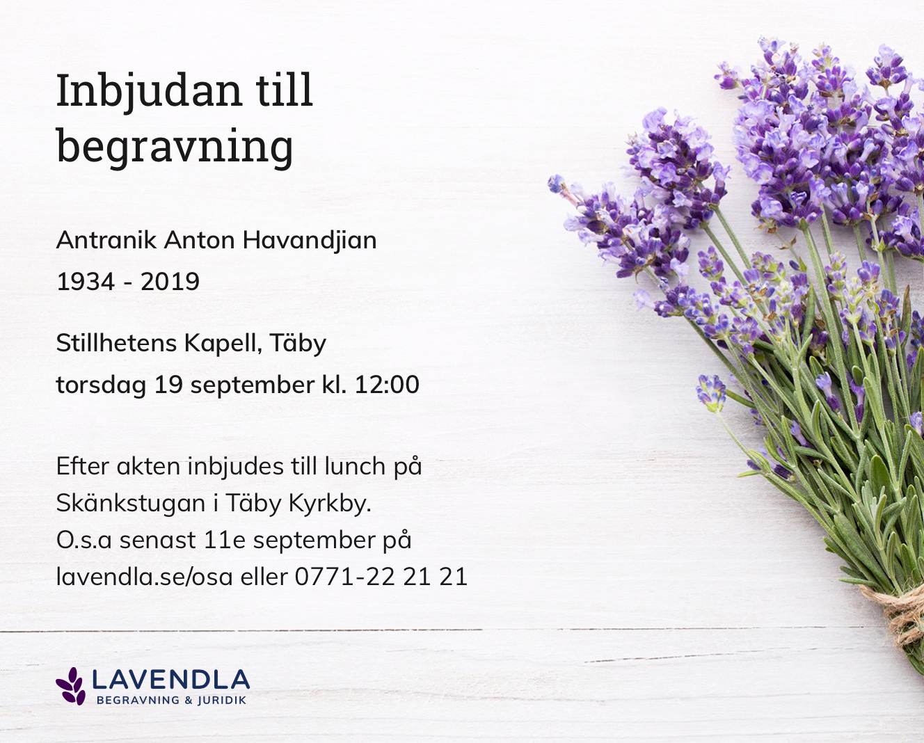 Inbjudningskort till ceremonin för Antranik Anton Havandjian