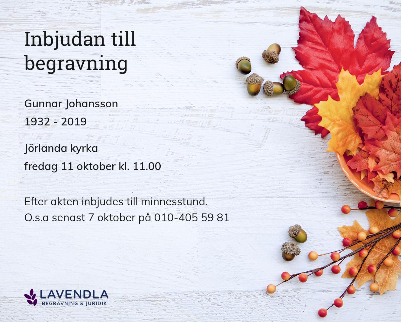 Inbjudningskort till ceremonin för Gunnar Johansson
