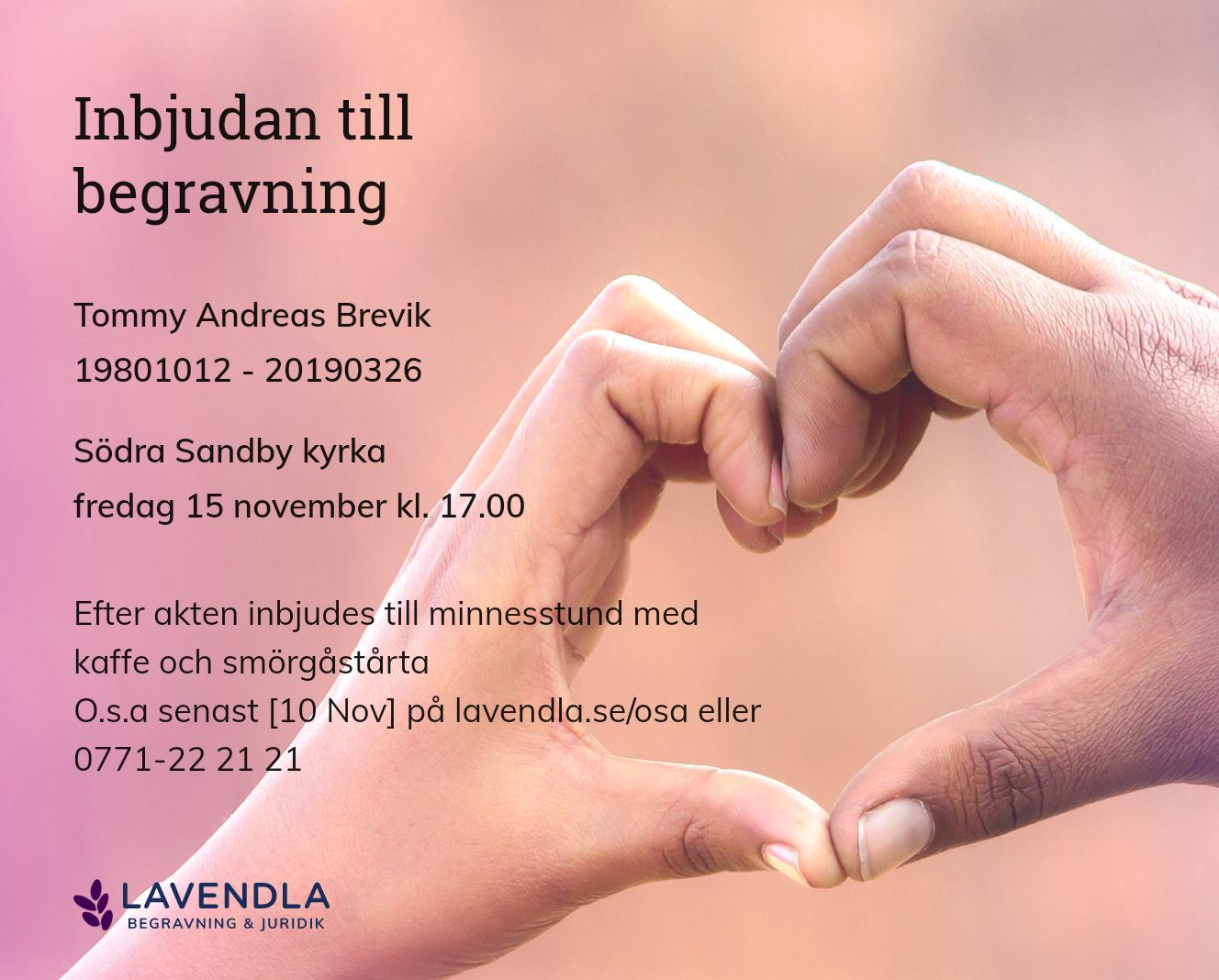 Inbjudningskort till ceremonin för Tommy Andreas Brevik