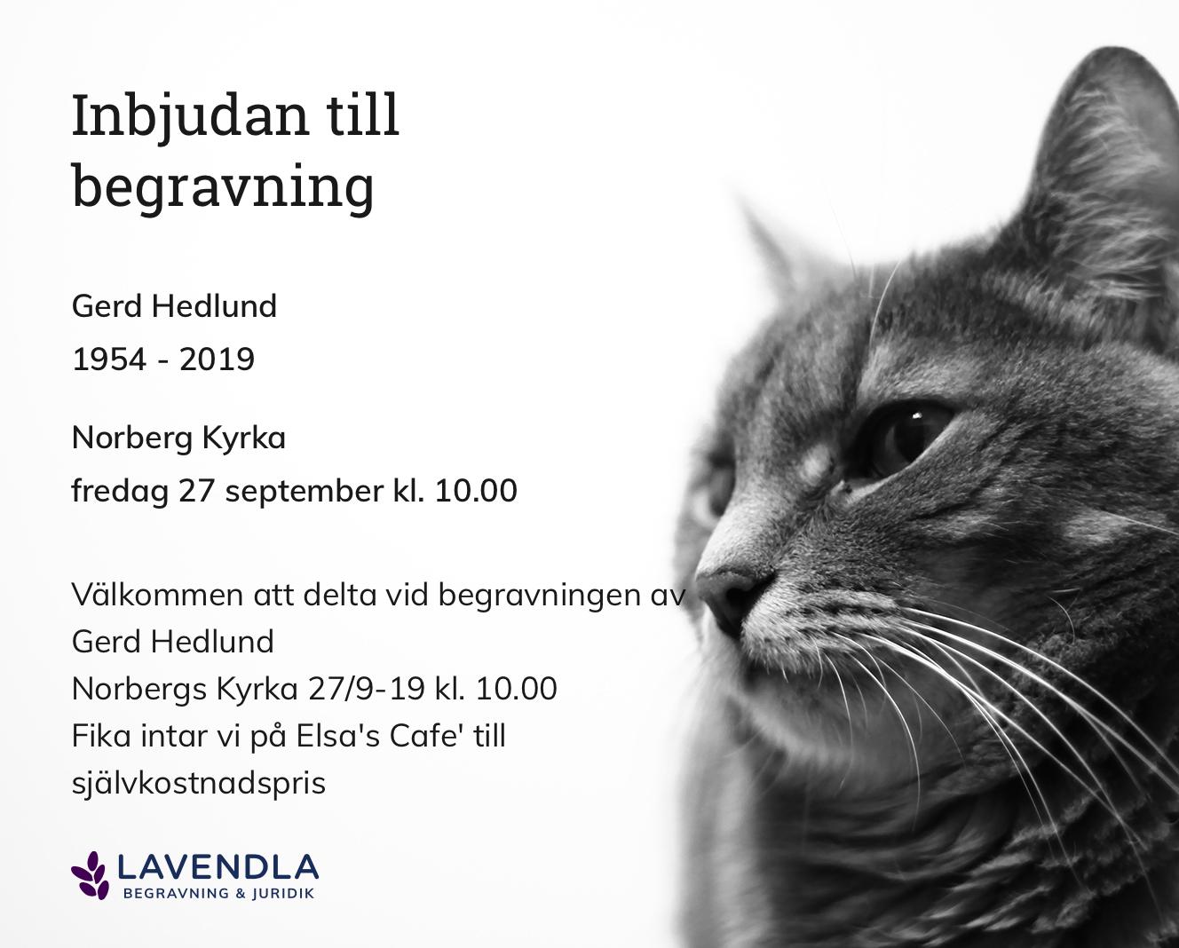 Inbjudningskort till ceremonin för Gerd Hedlund