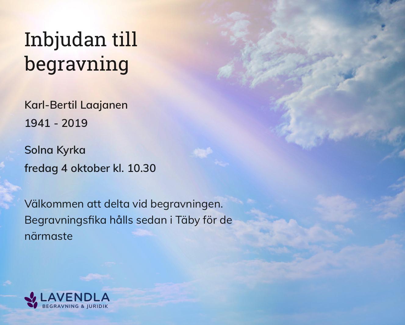 Inbjudningskort till ceremonin för Karl-Bertil Laajanen