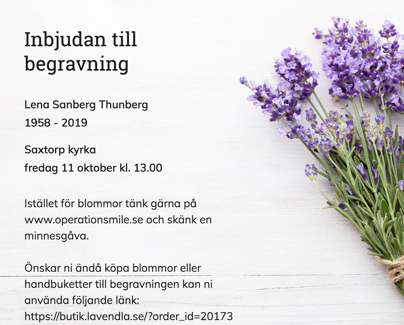 Inbjudningskort till ceremonin för Lena Sanberg Thunberg