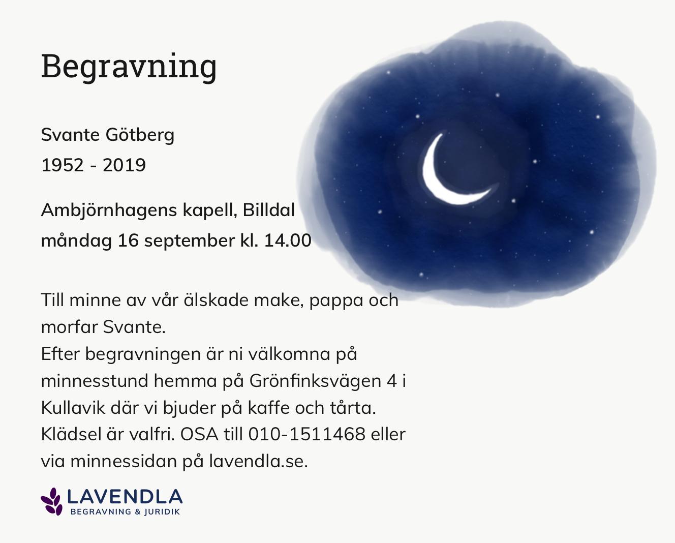 Inbjudningskort till ceremonin för Svante Götberg
