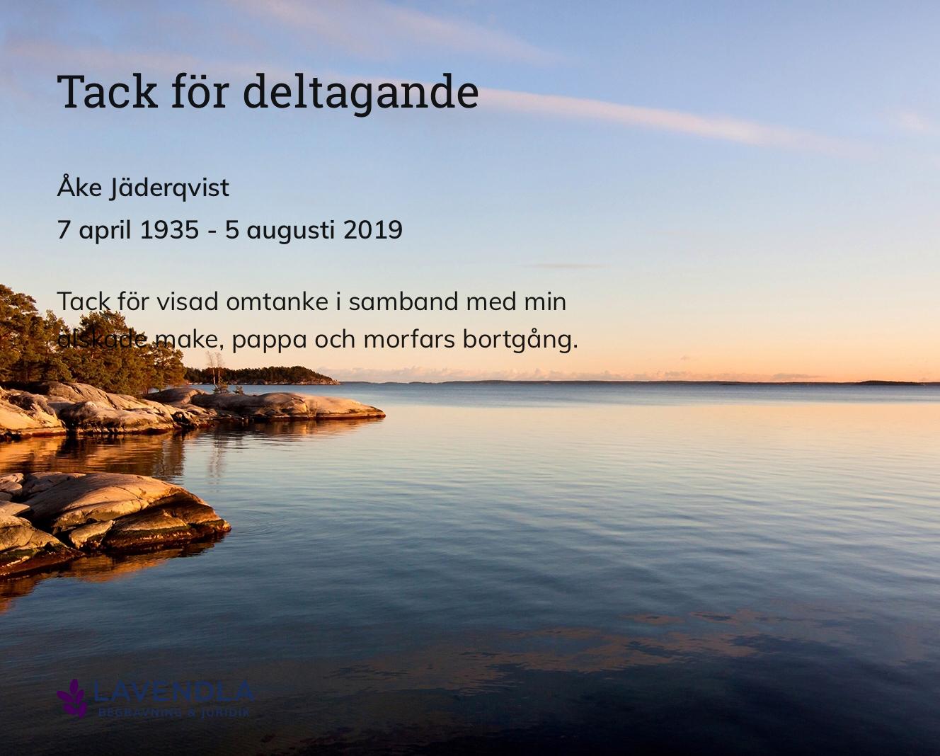 Inbjudningskort till ceremonin för Åke Jäderqvist