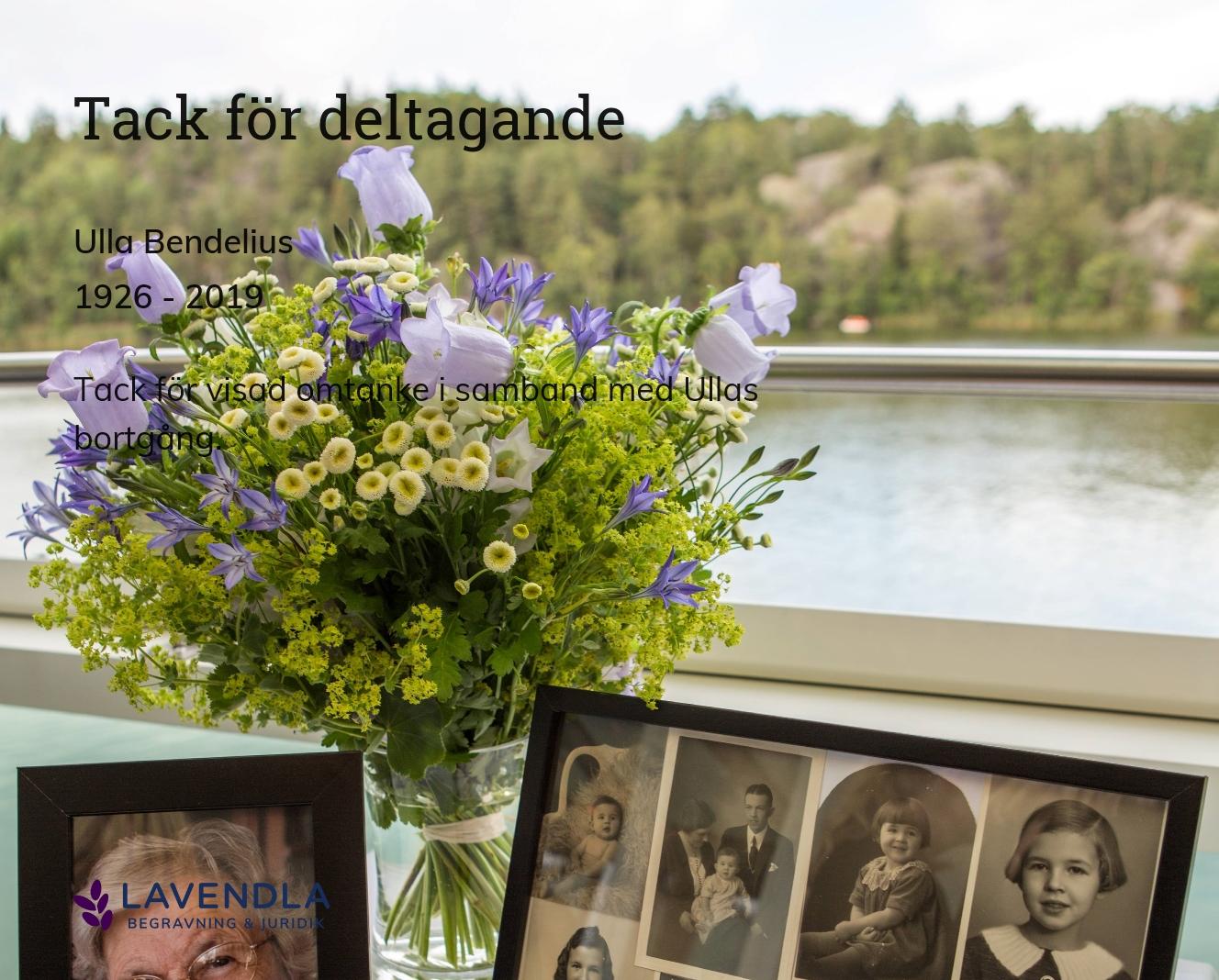 Inbjudningskort till ceremonin för Ulla Bendelius