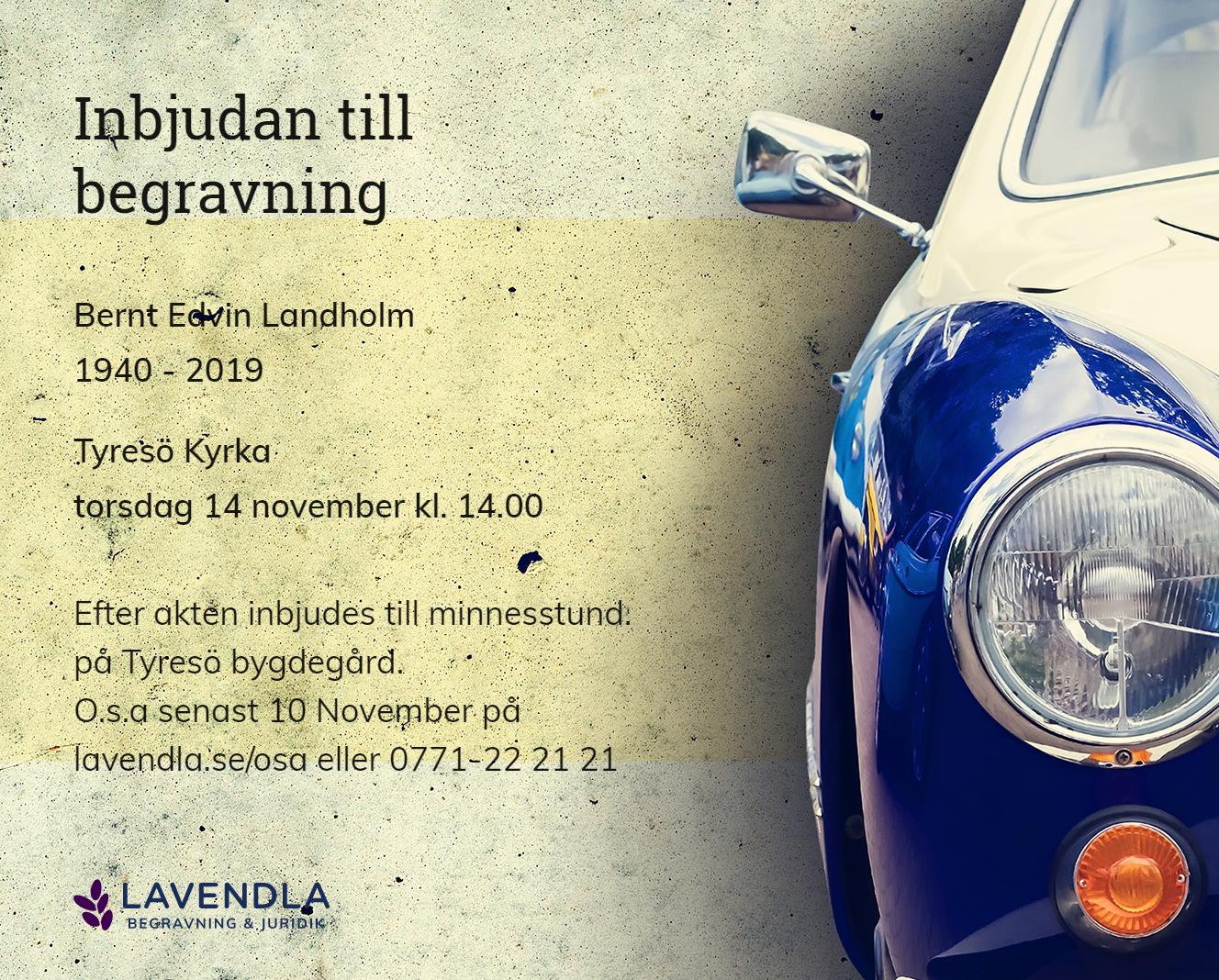 Inbjudningskort till ceremonin för Bernt Edvin Landholm