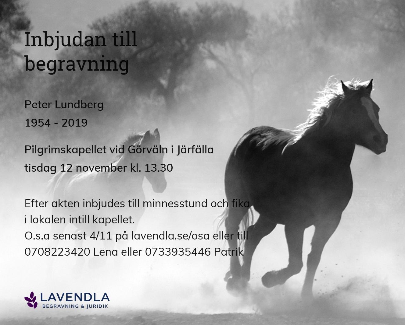 Inbjudningskort till ceremonin för Peter Lundberg