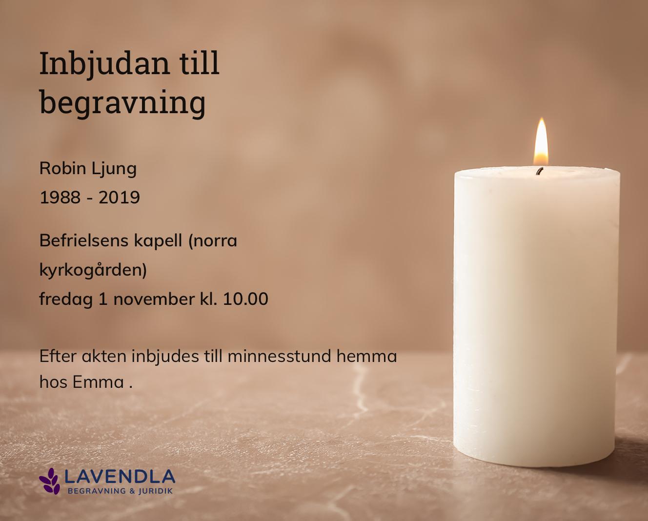 Inbjudningskort till ceremonin för Robin Ljung